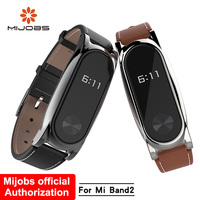 Mijobs Genuine Leather Strap For Xiaomi Mi Band 2 With Metal Frame Screwless Wristband Bracelet Smart Band Replace For Mi Band 2