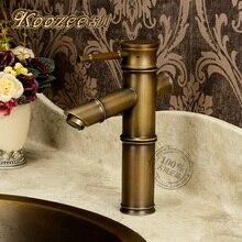 ГУ chuanou стиль бамбука Классическая античная медь ванной кран бронзовый зеленый бамбук кран горячей и холодной краны