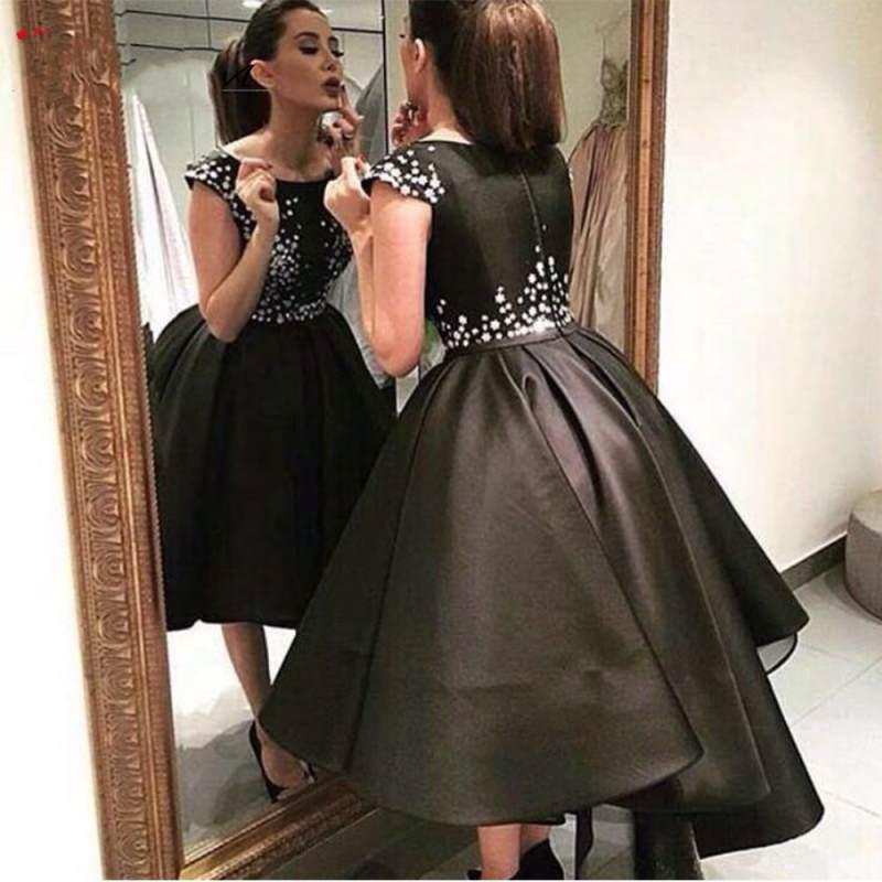 Black Evening Dresses 2019 Ball Gown Asymmetrical Saudi Arabic Prom Dresses Evening Gowns Formal Occasion Wear Robe De Soiree