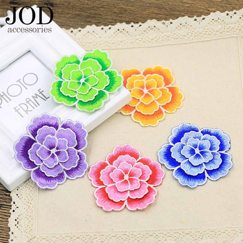 Йод двухпалубный цветок вышивка патч для одежды Роза наклейки на ткани фиолетовый отделкой субсидии перо ретро полоска аппликаций