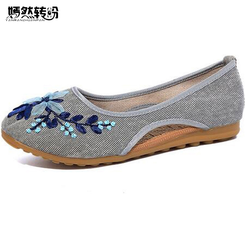National Women Shoes Flats Slip On Cotton Fabric Floral Embroidery Linen Breathable Ballerina Dance Shoes Woman Sapato Feminino vintage embroidery women flats chinese floral canvas embroidered shoes national old beijing cloth single dance soft flats