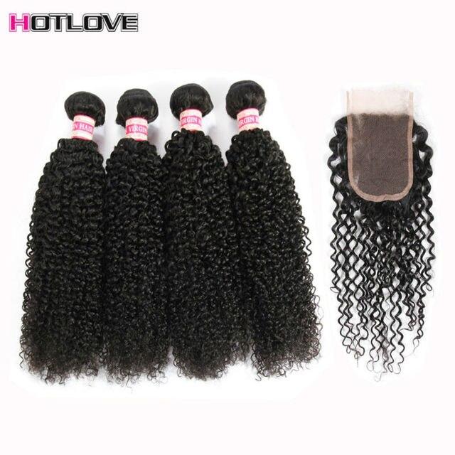 Brazilian Kinky Curly Virgin Hair With Closure 4 Bundles Virgin Curly Hair With Closure Brazilian Curly Virgin Hair With Closure