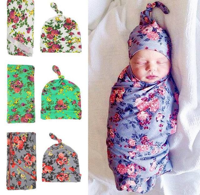 Retail 2017 Newborn Baby Floral Receiving Blankets Swaddling Cotton Blankets With Hat Photography props 90*90cm PJ009