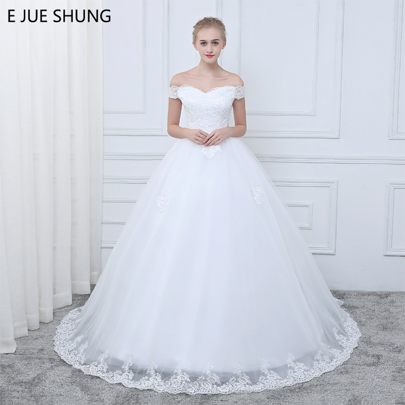 E JUE SHUNG White Vintage Lace Appliques Cheap Wedding Dresses Off The Shoulder Short Sleeves Wedding