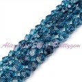 "Free Shipping 6/8mm Faceted Cube Shape Blue Quartz Stone For DIY Necklace Bracelat Jewelry Making Spacer Loose Beads 15""/Lot"