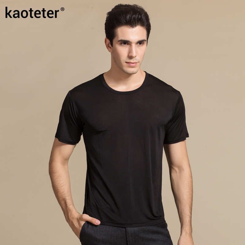 100% Pure Silk Man's   T  -  shirts   High Quality Short Sleeve O Neck Man Casual Wild Solid 6 Colors Male Tee Sweater   Shirts   Tops