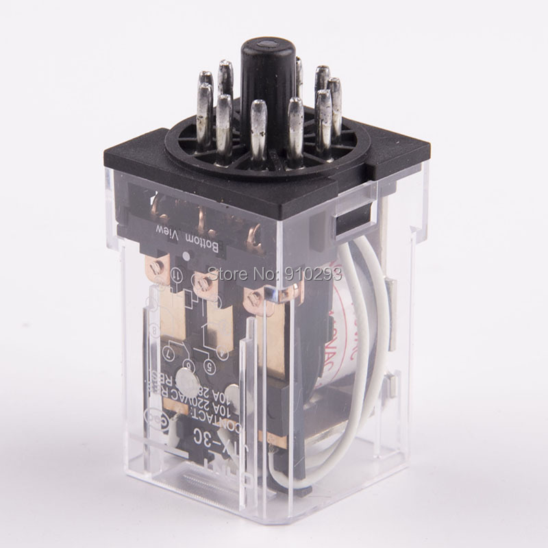 JTX3C Power Relay 10A 220VAC 28VDC general purpose thermal relay 11 pin mini relay holder relay module JTX-3C free shipping elecall 10pcs lot jqx 15f 1z dc48v miniature electromagnetic relay no 30a nc 20a 240vdc 28vdc 48vdc power relay