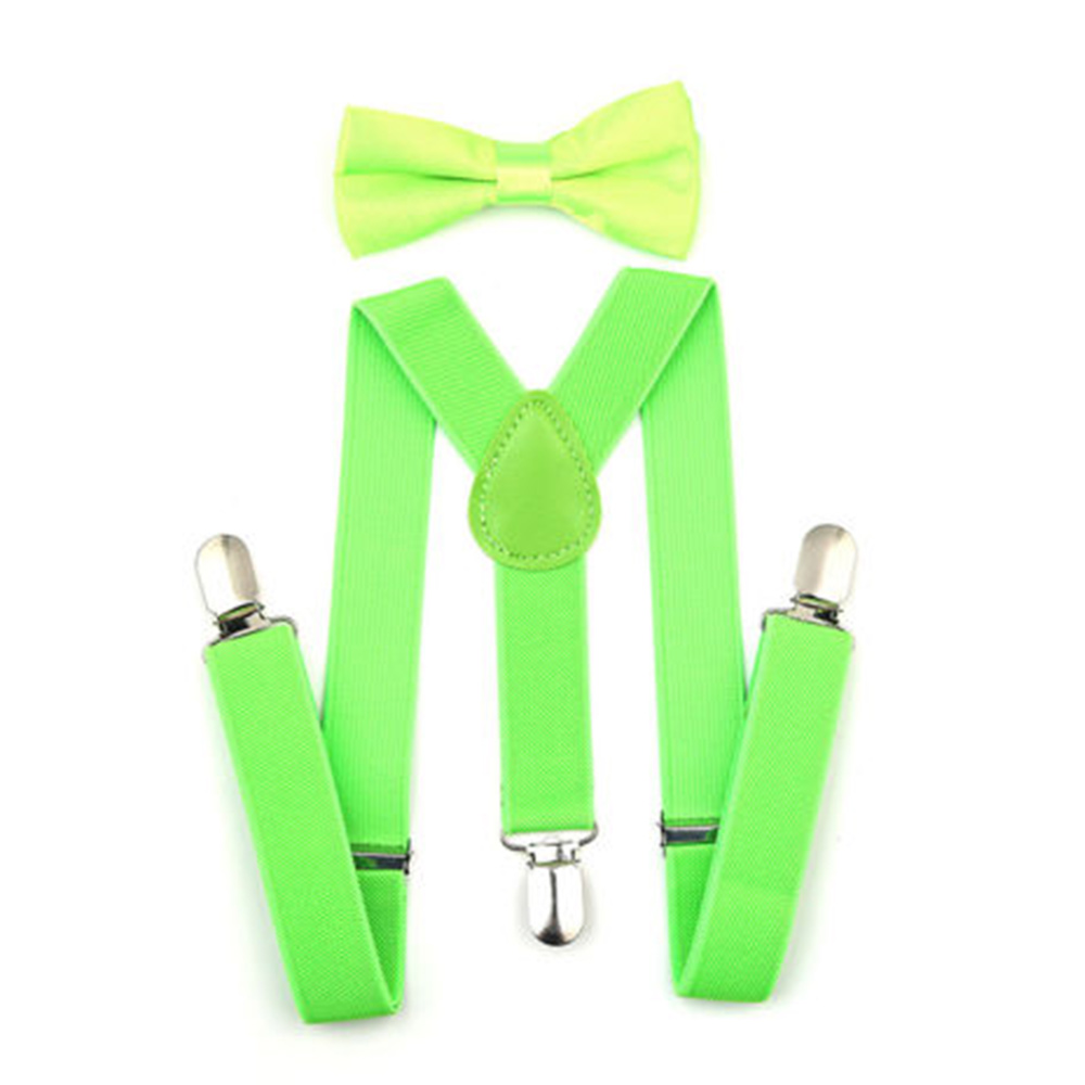 Регулируемая мода мальчиков хлопчатобумажный галстук вечерние галстуки подарок высокое качество для маленьких мальчиков малышей бабочка галстук-бабочка+ на подтяжках комплект одноцветное Цвет - Цвет: Fluorescent green