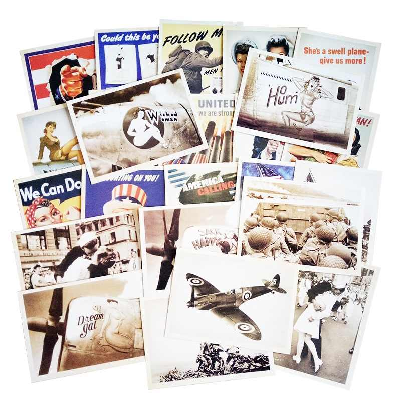 32 Pcs/pack Vintage Style Post Card Movie Stars Poster Drawing Greeting Postcards Set Gift WW2 Military Theme Classic Card