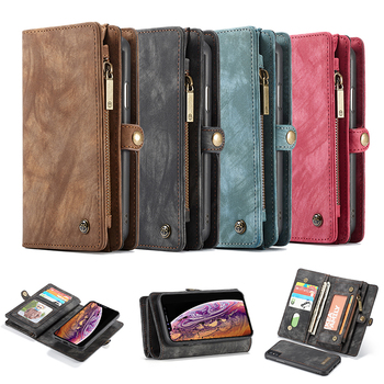 Detachable Zipper Wallet Magnetic Phone Cases For iPhone XS MAX XR 10 Genuine Leather Folio Cover for iPhone 6 6s 7 8 Plus 8Plus