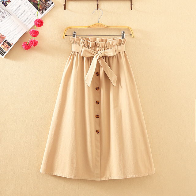 Knee Length Elegant Button High Waist Skirt Female Pleated Skirt