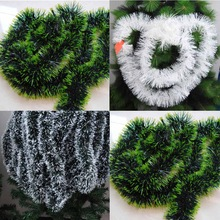 200cm Colorful Christmas Decoration Bar Tops Ribbon Garland Christmas Tree Ornaments White Dark Green Cane Tinsel Party Supplies