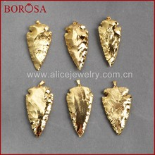 BOROSA Clearance Sale 5/10PCS Arrowhead Full Gold Color Natural Jaspers Gems Pendant Beads Jewelry Natural Stone Pendants G0506(China)
