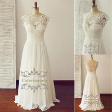 Good Quality Lace and Chiffon Sheath Wedding Gowns Light Weight with Cap Sleeves Bride Dresses Sexy Backless Small Train