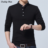 Casual Long Sleeve T Shirt Men Cotton V Neck White Button Black T Shirt Funny 2017