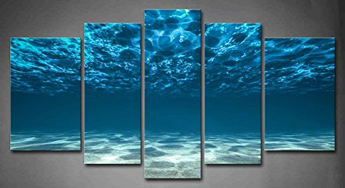 5 Panels HD Unframe Wall Art Blue Ocean Bottom View Beneath Surface Oil  Painting Canvas Seascape