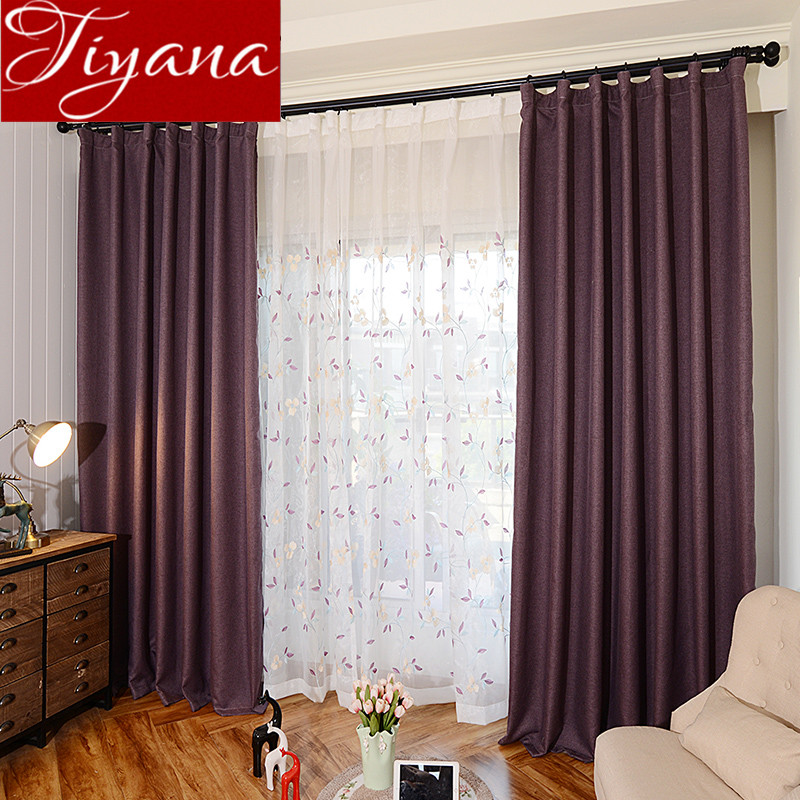 ツ Purple Curtains Embroidered Voile Curtinas Leaves Modern