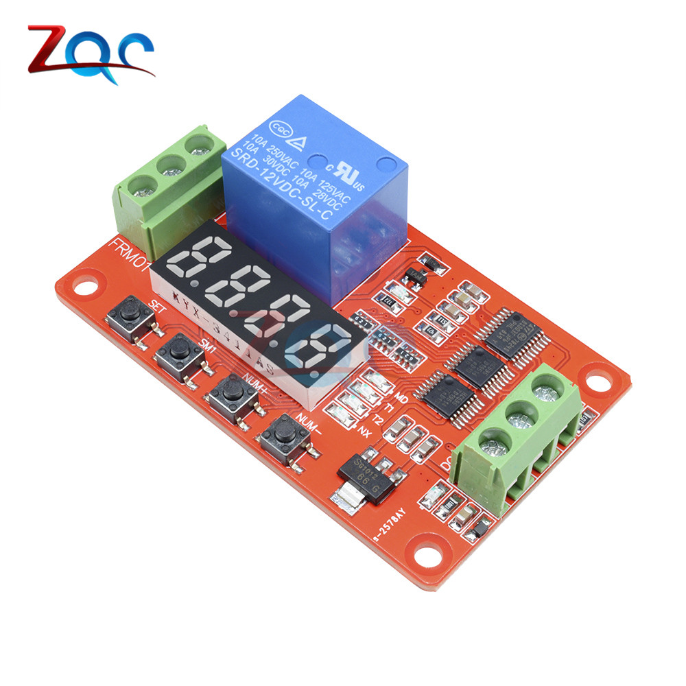Digital Led Display Time Delay Relay Module Board Dc 12v Control Switch Circuit W Vehicle Electrical Multifunction Self Lock Plc Cycle Timer Home
