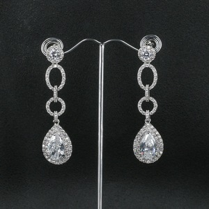 Image 3 - Full CZ Cubic Zirconia Drop Dangle Bridal Wedding Loops Earring for Women Jewelry CE10249