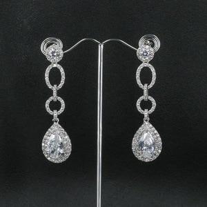 Image 3 - Voll CZ Zirkonia Tropfen Baumeln Braut Hochzeit Loops Ohrring für Frauen Schmuck CE10249
