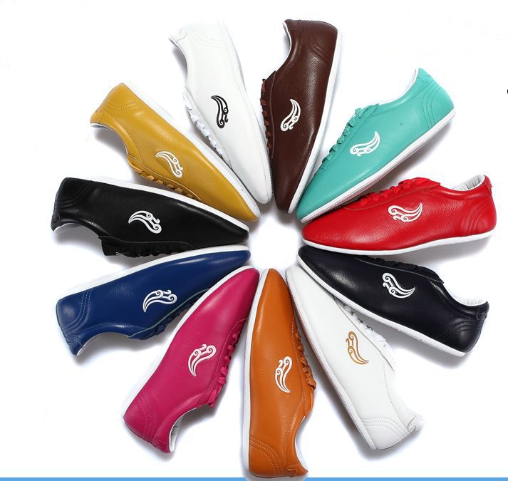 unisex kids Adult cowhide leathermartial arts tai chi shoes children kung fu competition sports wushu training