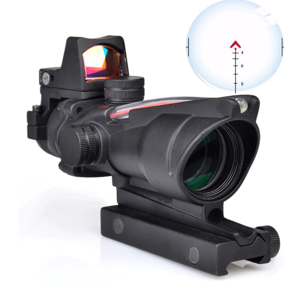 WIPSON ACOG 4X32 Optic Scope Riflescope CAHEVRON Reticle Fiber Red Illuminated Optic Sight With RMR Mini Red Dot Sight 20mm Rail
