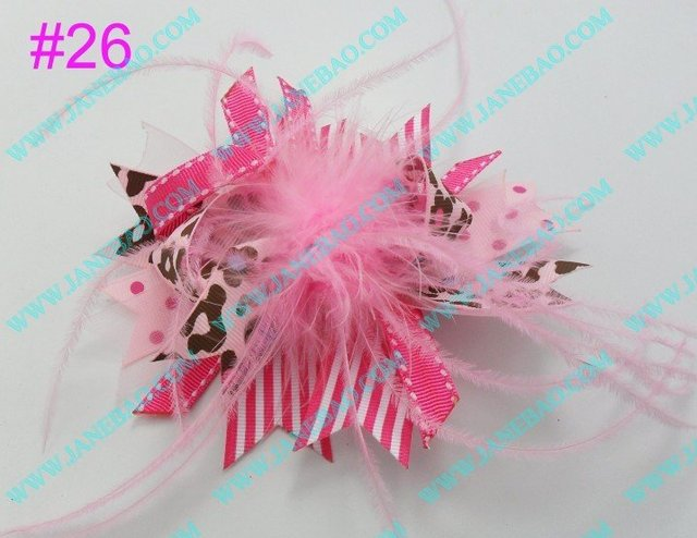 free shipping 120pcs NEWEST 4.5''  feather hair bows fashion boutique girl boutique hair bows Animal print ribbon bows