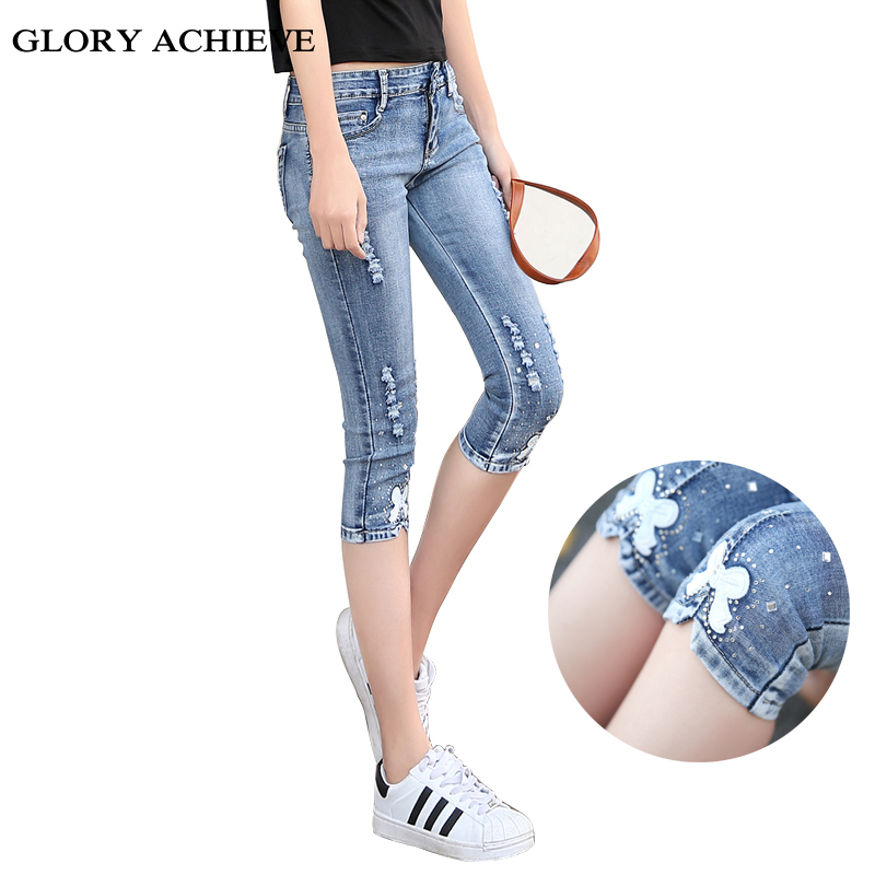 Summer Casual Women   Jeans   Plus Size Clothes Fashion Capri Skinny   Jeans   for Woman Ripped Stretch Patchwork Denim Capri pants
