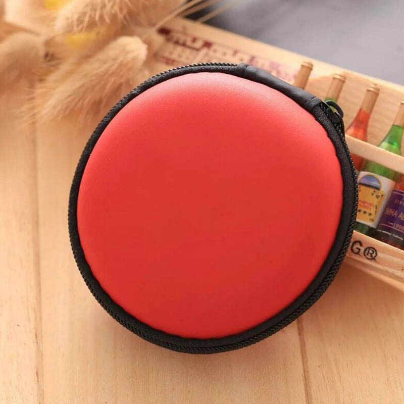 Zippered Pouch Portable hard Earphone Bag Earphone Case Headset box USB Cable Organizer Round Shape Hand Spinner