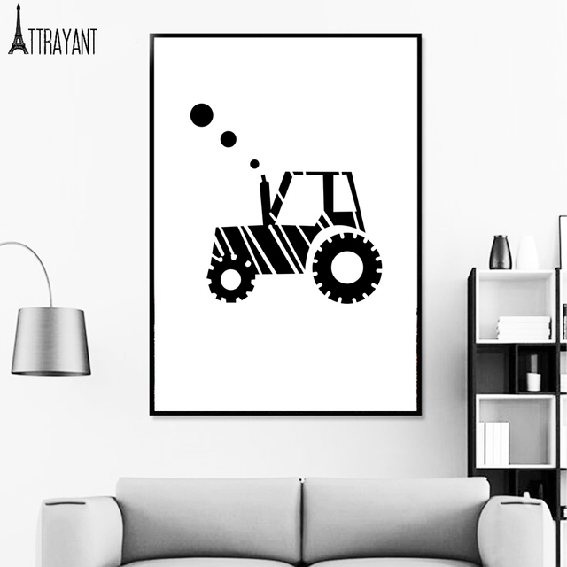 Airplane Tractors Car Black White Wall Art Canvas Painting Nordic Posters Prints Room Home