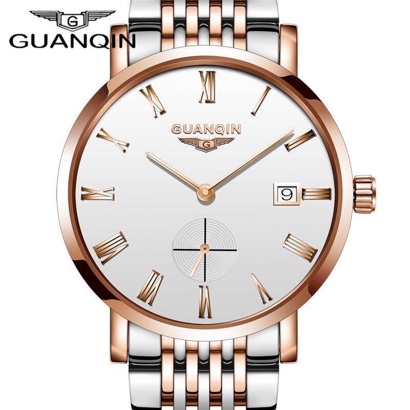 New 2018 GUANQIN Watch Men luxury brand Automatic Mechanical Quality Sapphire Waterproof Date Analog Wristwatch Men's Watches стоимость