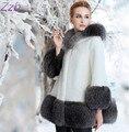 ZZB017 Invierno mujeres de la alta moda de lujo faux fur coat Socialite gruesa caliente parkas chaqueta de Piel de cuero de Buena calidad para señora
