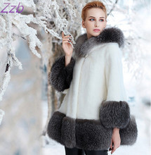 ZZB017 Winter high fashion women's luxurious faux fur coat Socialite thick warm leather Fur  jacket parkas Good quality for lady