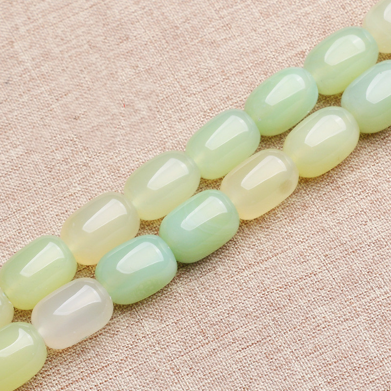 15.5 Inches 13*18mm Size Natural Apple Green Barrel Oval Smooth Loose Agat Stone Beads Strand for Jewelry Making