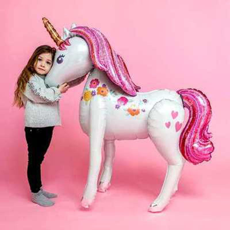 Image 4 - unicorn party big balloon stand 3d horse birthday party decorations kids cartoon animal unicorn birthday wedding balloons-in Ballons & Accessories from Home & Garden