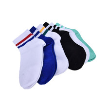 Classic Long Two Striped Socks Retro Old School of High Quality Cotton for Women Men Skate socks(China)