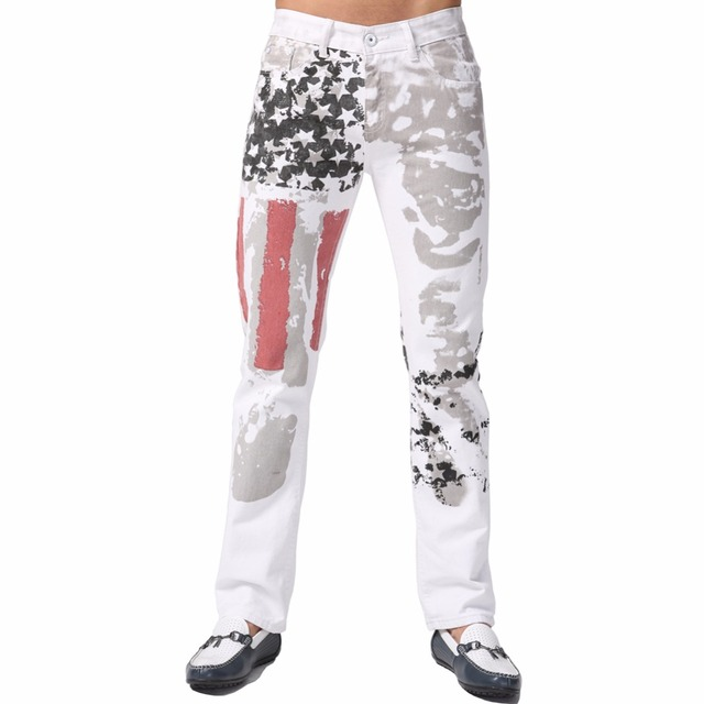 2016 New Floral Men Jeans Designer Fashion Casual Brand Pencil USA Flag Straight Skinny Pants F0067