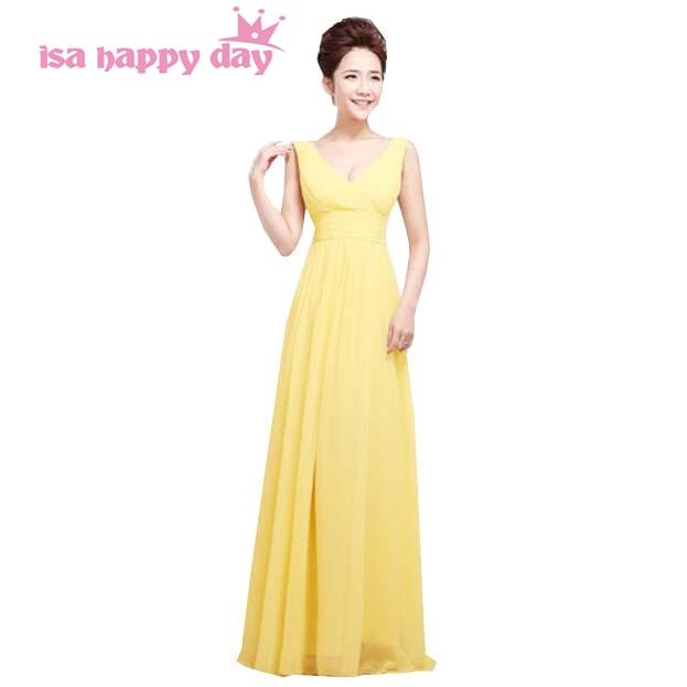 ᗗlong formal yellow v neck chiffon gowns ladies elegant dresses ...
