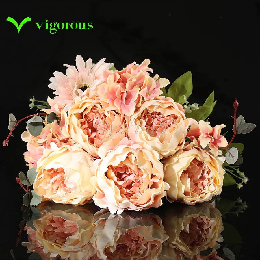 High Quality Silk Flower European 1 Bouquet Artificial Flowers Fall