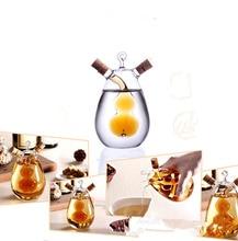 1PC Kitchen Glass Oil Bottle Multi-purpose Vinegar Cruet 2 in1 Handblown Soy Sauce OK 0358