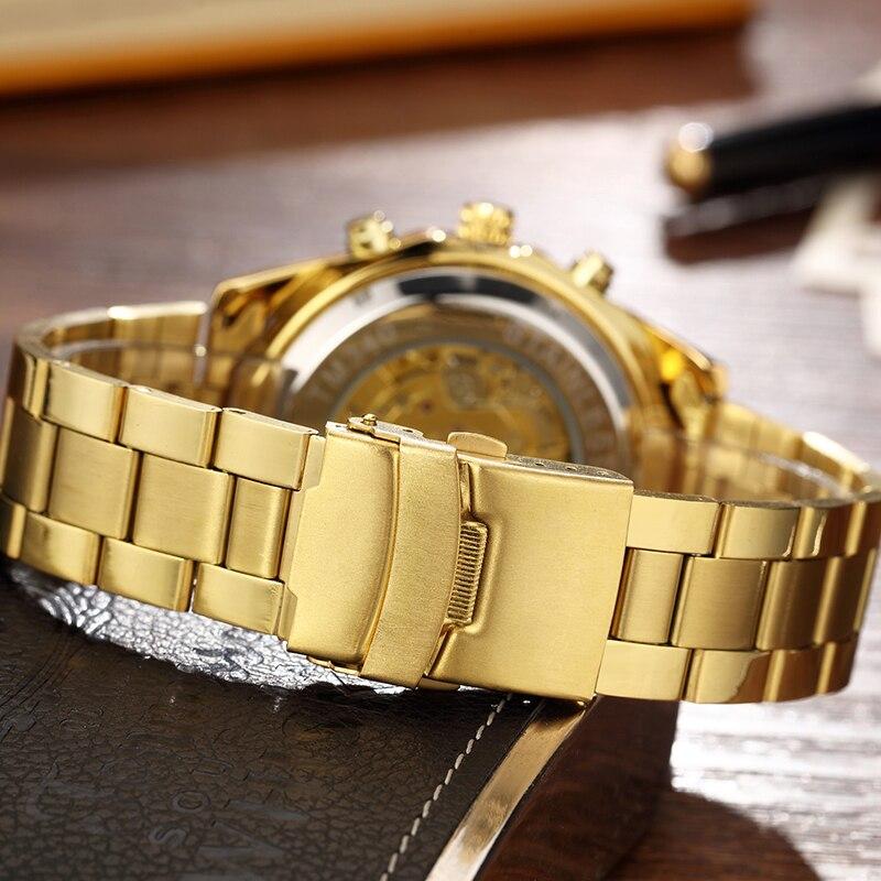 Automatic Mechanical Watch Men Winner Skeleton Watches Gold Bracelet Wristwatch Luxury Brand Mechanical Clock Male Self-winding 5