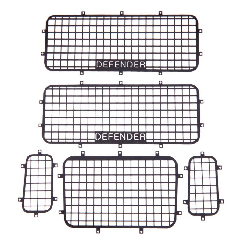 5 piezas Metal malla ventana protectora Net con DEFENDER Logo para 1/10 RC coche Traxxas TRX-4 práctico RC coches accesorios