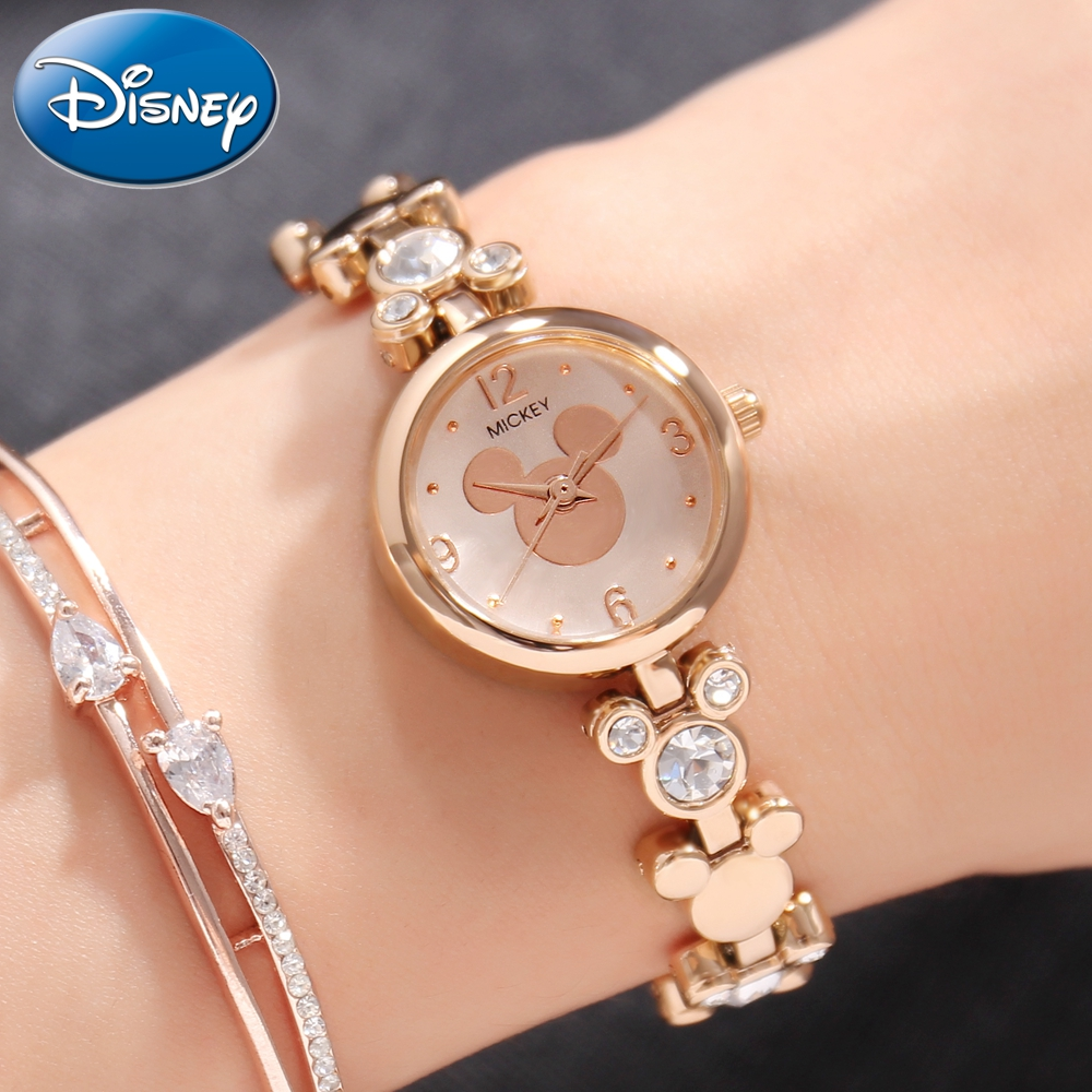 New Disney Mickey Women s Luxury Bling Rhinestone Bracelet Steel Quartz Waterproof Watches Ladies Jewelry Gold
