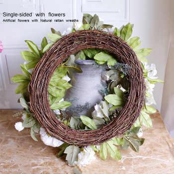 40 ซม. สีม่วงประดิษฐ์ Rose Peony ดอกไม้พวงหรีดประตูโรแมนติกงานแต่งงานตกแต่งรอบ Garlands สำหรับ Home Party ตกแต่งหน้าต่างใหม่
