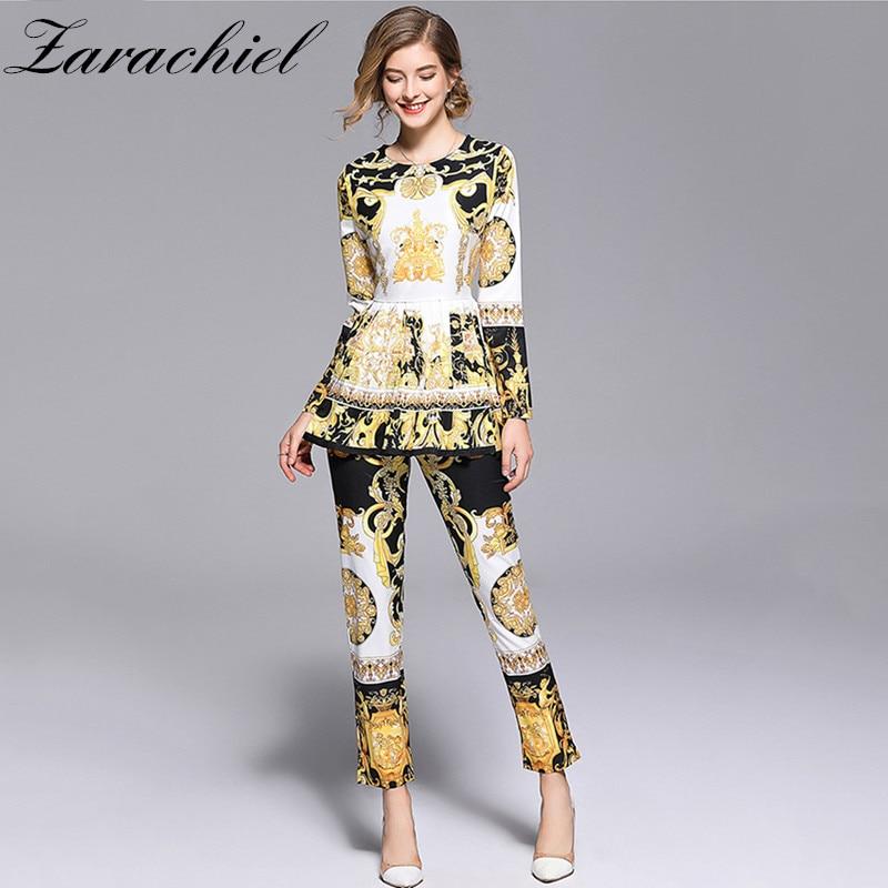 Fashion Runway Designer Suit Set Women's Long Sleeve Retro Pattern Print Pleated Hem Split Pullover Top Pants Set 2 Piece Sets