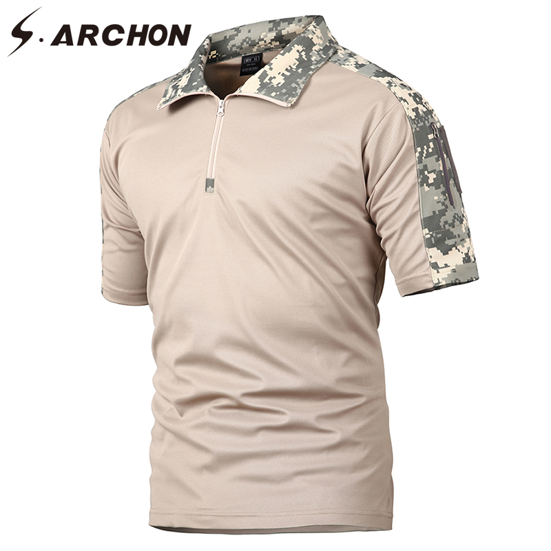S.ARCHON Men Summer Camo Quick Dry Tactical Polo Shirts Casual Breathable Uniform Military Polo Shirts Short Sleeve Polo Pocket