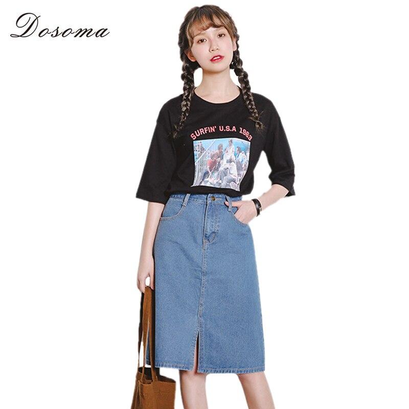 girls midi denim skirt 2017 korean style high waist simple jeans ...
