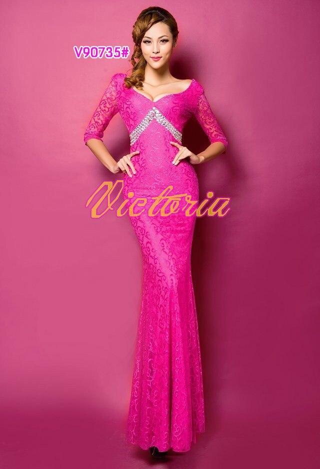 v-образным вырезом платье с поясом длинное вечернее платье халат de soiree Abiti да сывороток vestido de festa longo com H0296 - Цвет: Rosy