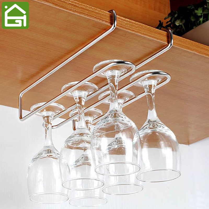 Stainless Steel Wine Glass Hanger Under Cupboard Cup Holder Cabintet Hanging Drainer Double Row Hooks Hold 2-6 Cups