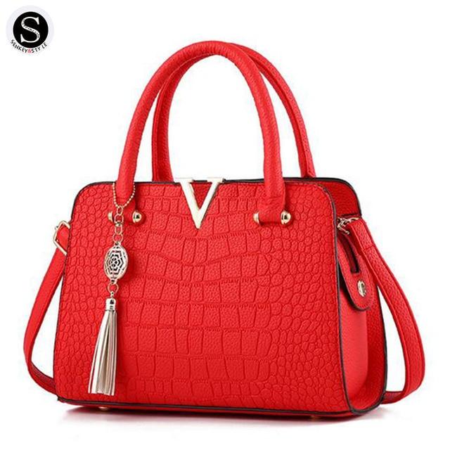 Senkey Style Women Messenger Bags Crocodile Pattern Tassel Leather 2017 Shoulder Bags For Luxury Handbags Women Bags Designer